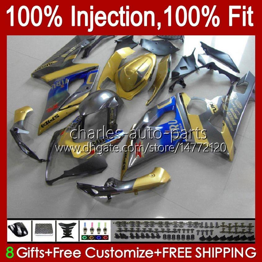 Mold wtrysku ciała dla Suzuki GSXR 1000CC 1000 CC K5 Golden Blue Stock GSXR1000 05 06 Nadwozie 11hc.79 GSXR-1000 2005 2006 Cowling GSX-R1000 GSX R1000 05-06 OEM Os