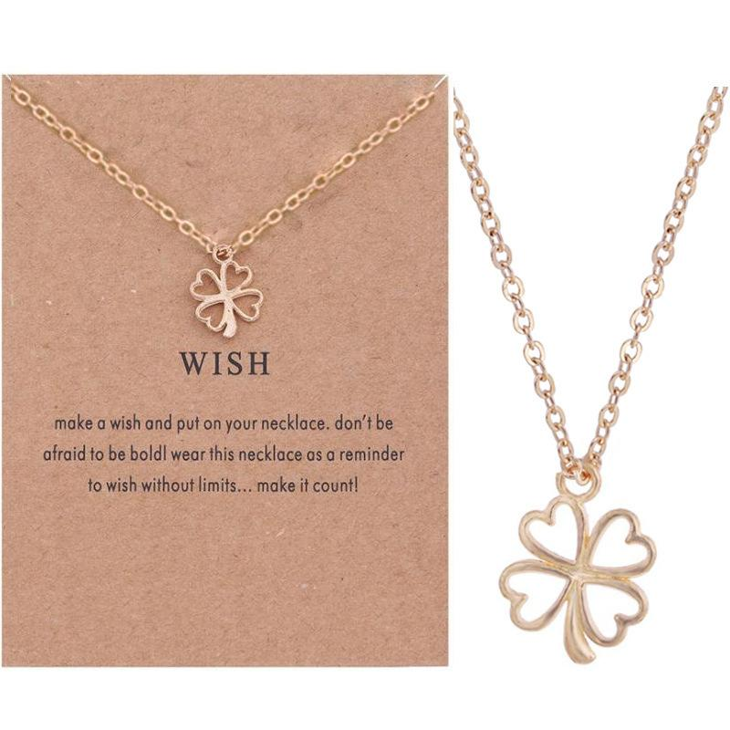 Four Peach Hollow Heart Leaf Straw Flower Necklace Female Collarbone Necklace