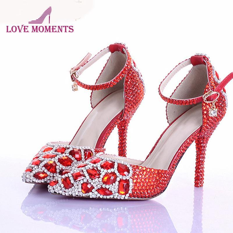 Kırmızı Rhinestone Kristal Düğün Ayakkabı Sivri Burun Gelin Yüksek Topuk Ayak Bileği Kayışı Ile Kadınlar Pompaları Parti Balo Elbise Pompalar
