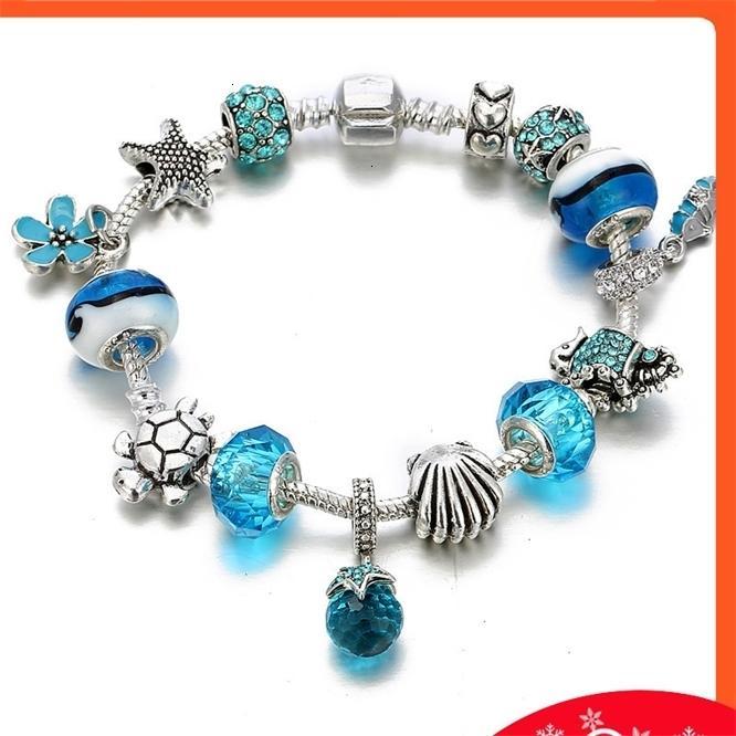 New Seahorse Starfish Cristal De Vidro Frisado Pulseira Dia dos Namorados Presente Jóias