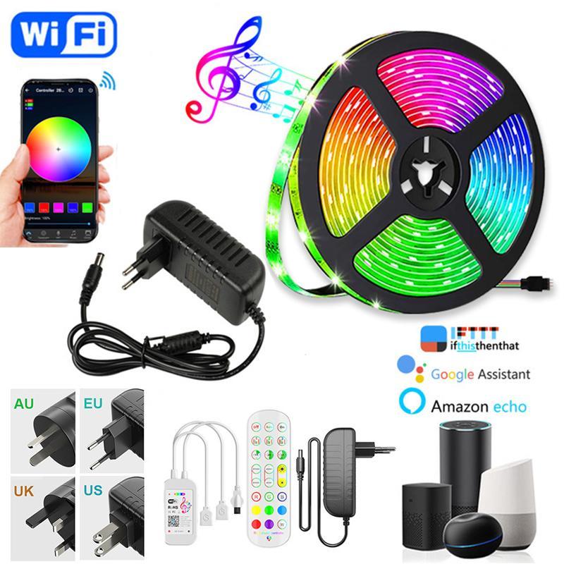 LED 스트립 라이트 5m 10m 15m 20m 5050 DC12V 16.4ft 32.8ft 50ft 66ft 여러 가지 빛깔의 Wift Bluetooth 컨트롤러 AC100-240V 어댑터 HDTV TV 데스크탑 화면 배경 EUB