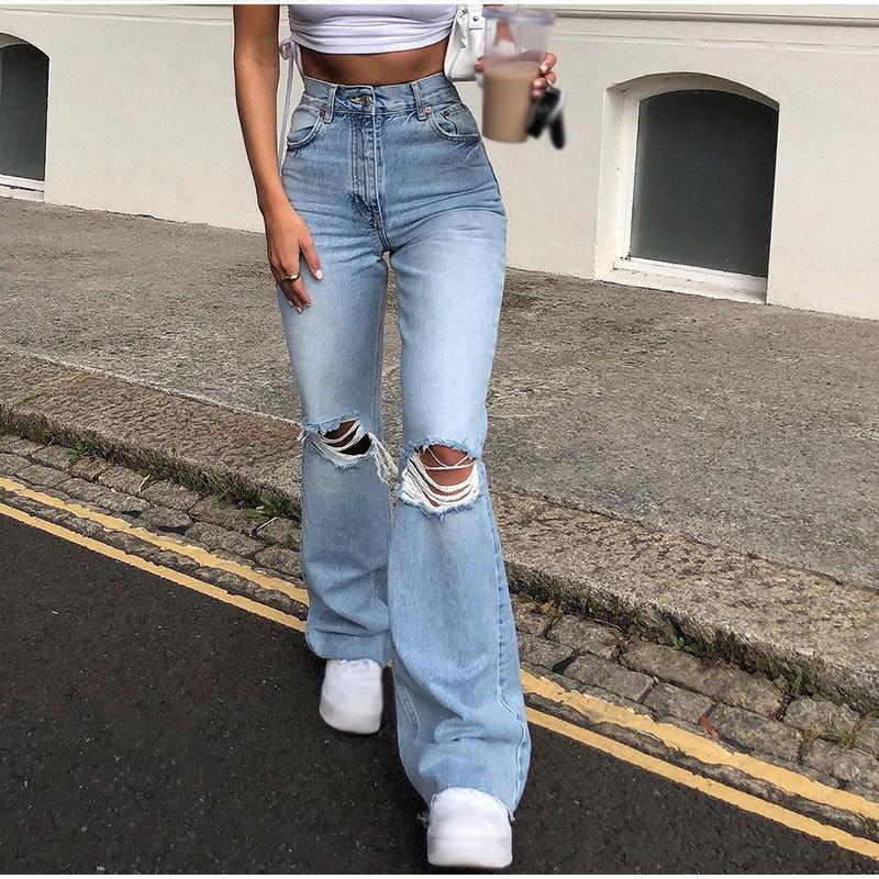 Pantalones de pierna ancha de la vendimia de la cintura alta rotos y2k jeans holggy para las mujeres Flare Senim Planched Streetwear 2021