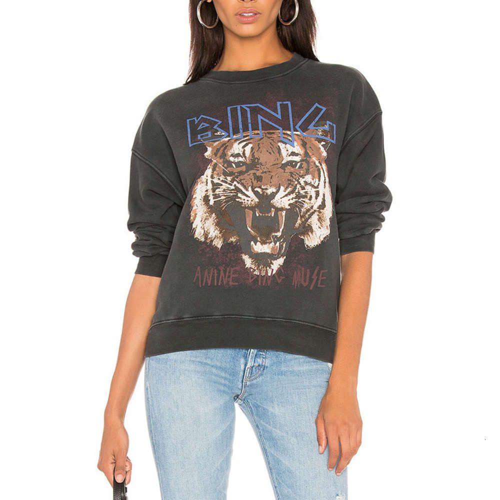 2020 Straßen Trend Lose Größe Tiger Head Bedruckte Baumwolle Frauen Pullover