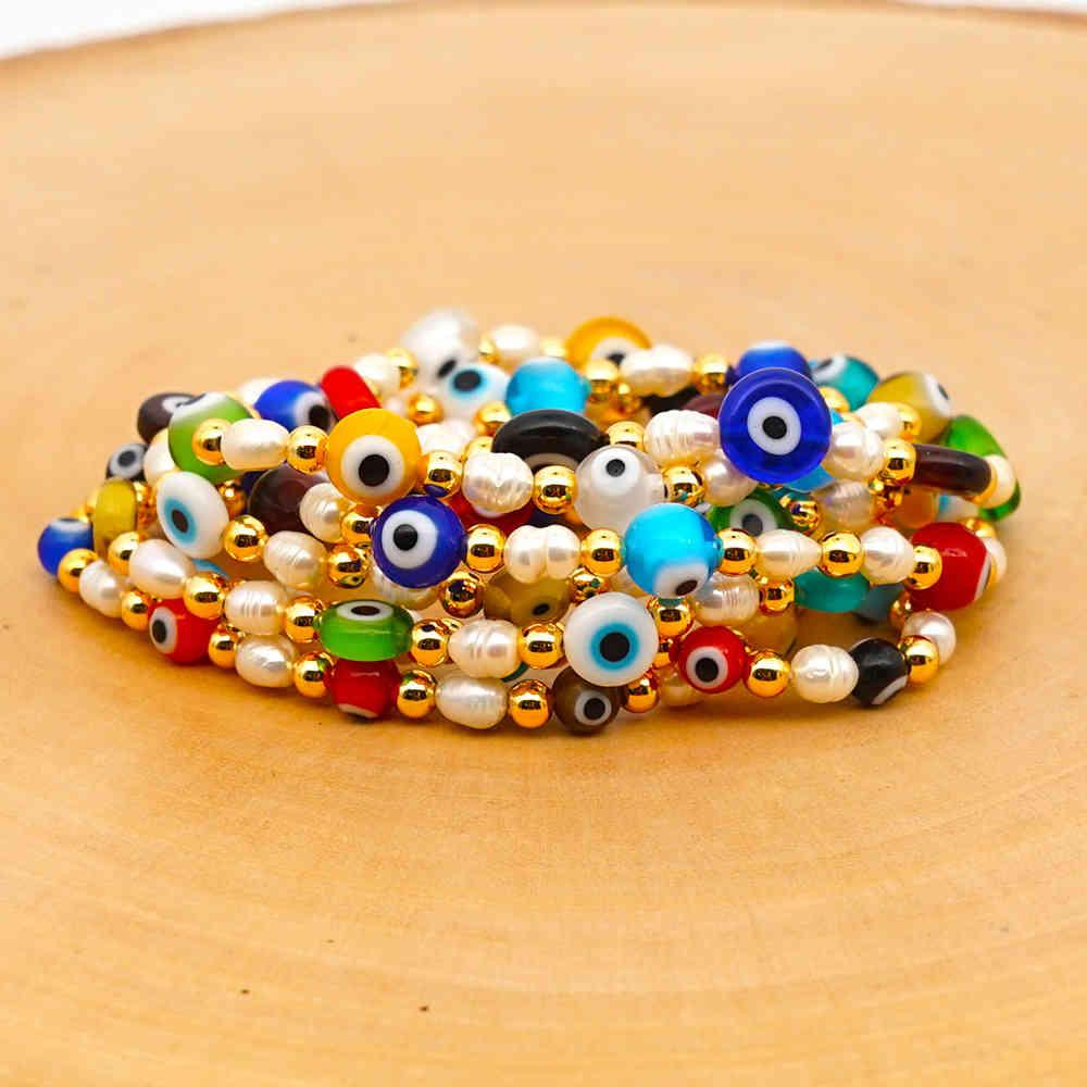 Simple natural fresh water baroque with glass evil eye national style gold pearl lady Bracelet