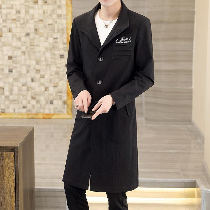 패션 남자 정장 썬 블록 망 캐주얼 비즈니스 트렌치 코트 레저 오버 코트 남성 펑크 스타일 혼합 먼지 코트 자켓 남자