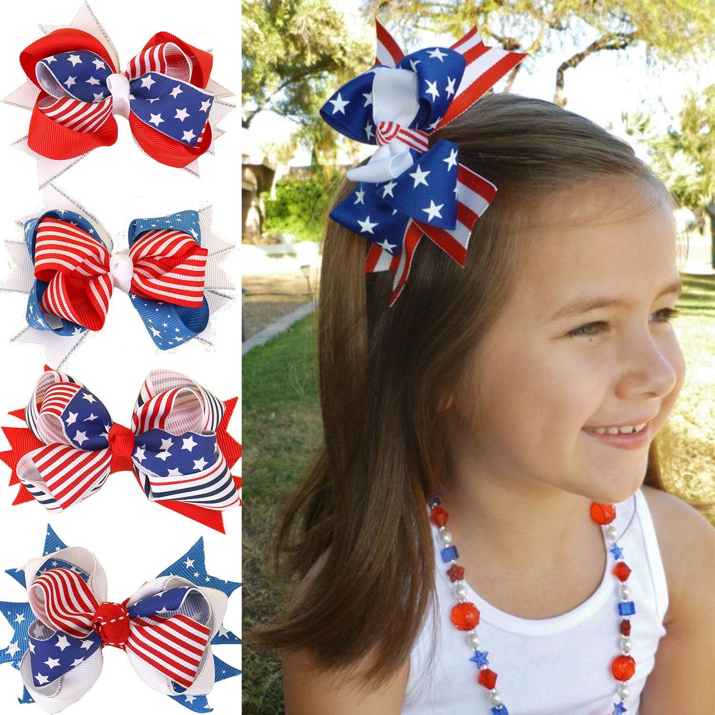 4 июля шпилька для ребенка лук американский день независимости день клип флаг девушки барбут аксессуар для волос ленты бантик