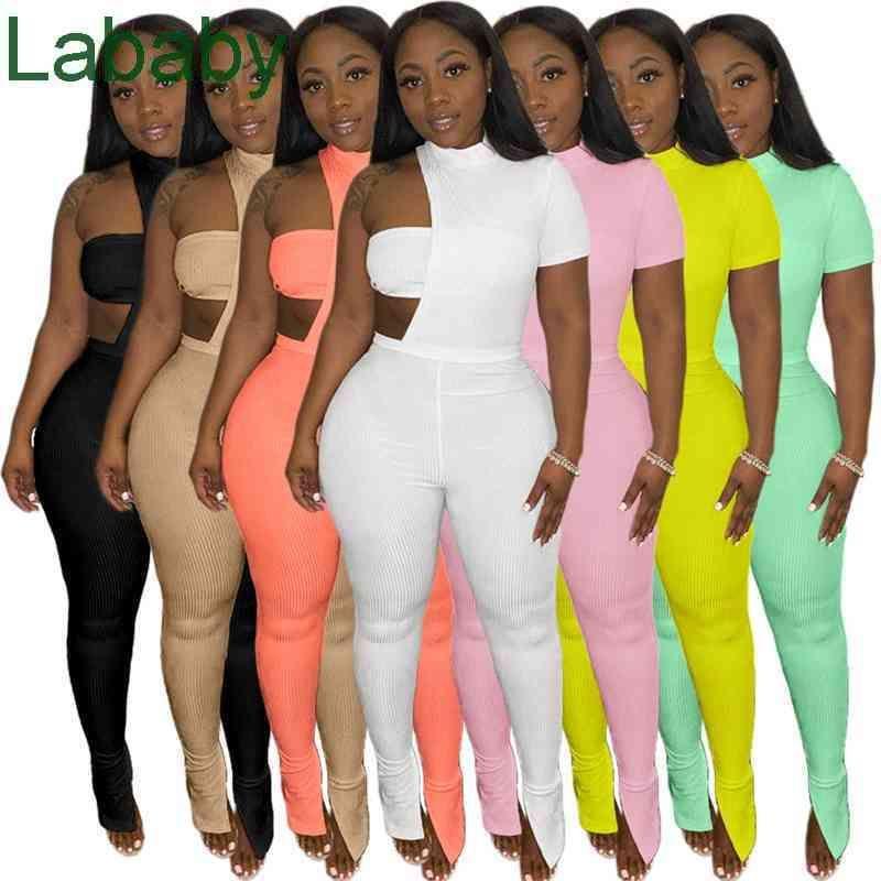 Women Three Piece Suit Designer Clothes 2021 Fashion Tracksuits Solid Colour Asymmetric Crop Top Wrapped Jacket Split Pants 837