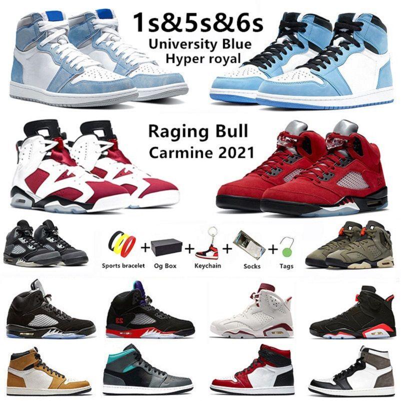 air Jordan 1 Üniversite Mavi 1s erkek basketbol ayakkabıları jumpman 1 Hyper Royal Carmine 6s Raging Bull 5s Shadow Twist Alternatif Üzüm erkek eğitmenler KUTU ile spor ayakkabı