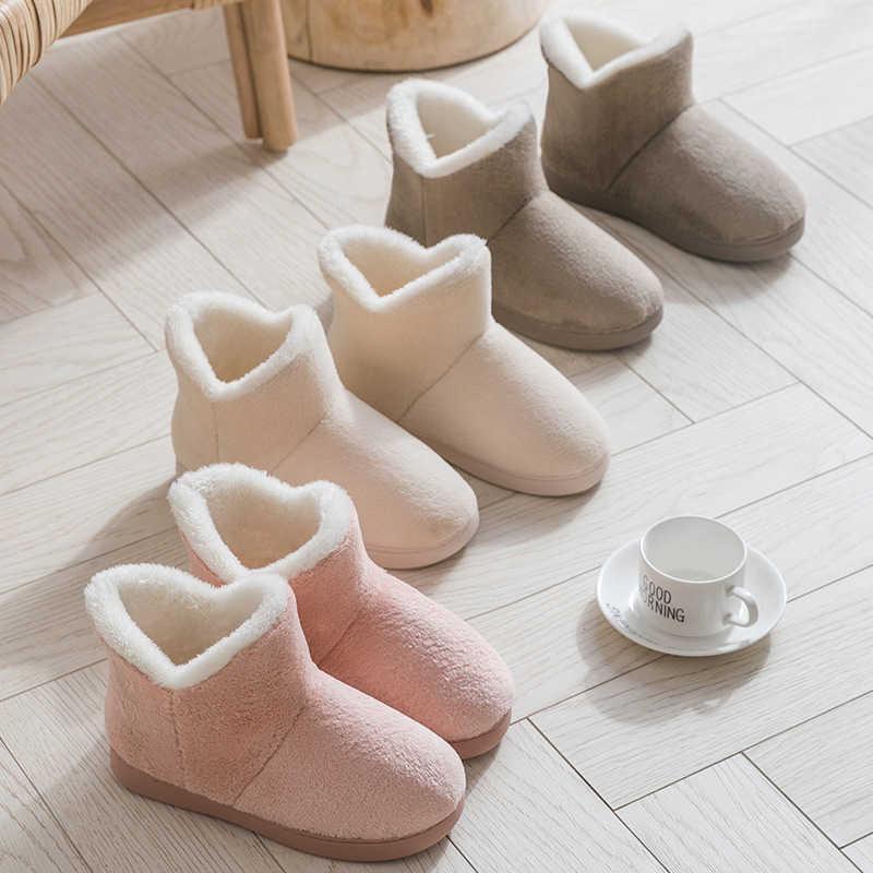 Frauen Winter Hausschuhe Warm Plüsch Slip-on Paare Home Boden Schuhe Anti-Slip Bequeme Wohnungen Weibliche Warm-Faux-Pelz-Hausschuhe A0602