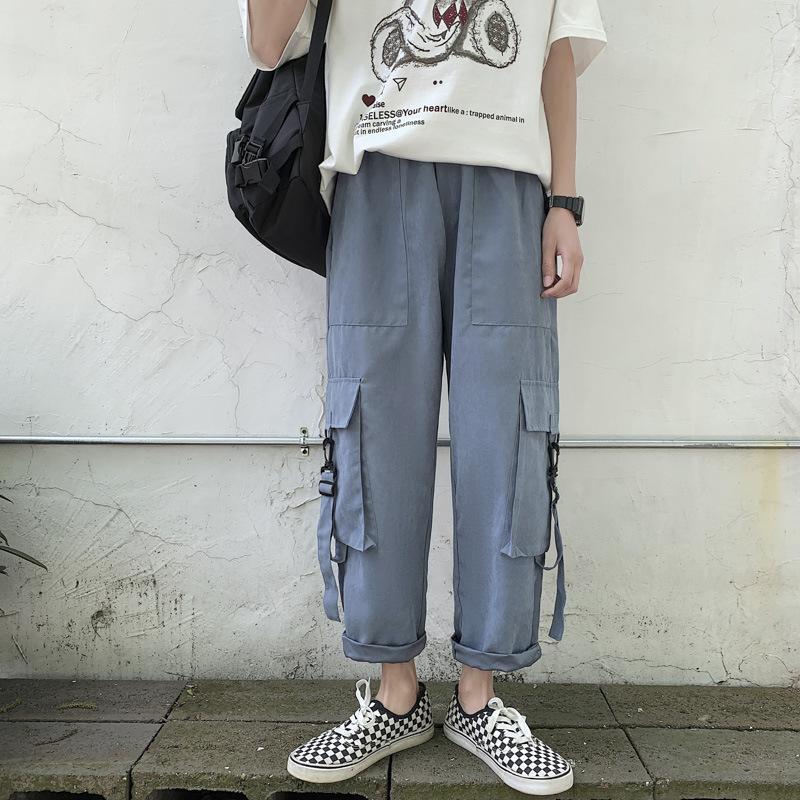 2021 Новые Летние Свободные Ноговые комбинезоны, Корейские Моды Повседневные брюки, Мужские 9 квартальные прямые штаны
