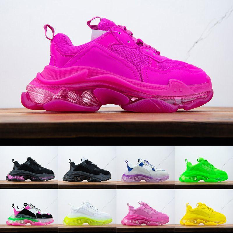 2021 Paris Triple-S Sneakers Fashion Stylist Mens Womens Outdoor Viaggio Casual Scarpe Casual Pelle Patchwork Boots Boots Dimensione 36-45