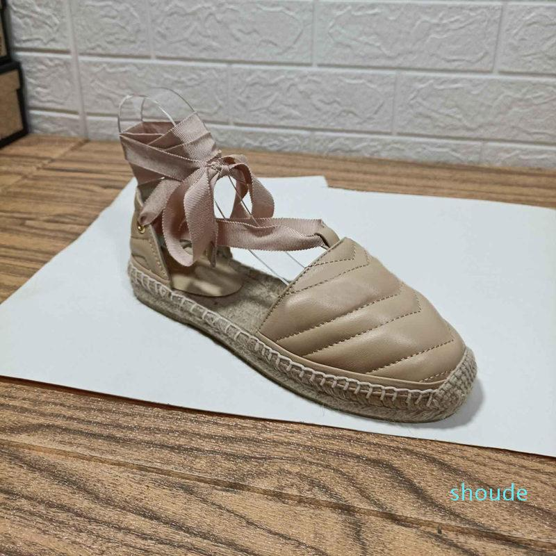 Tasarımcı-Bayan Rattan Saman Keten Rahat Sandalet Yaz Moda Kadın Düz Ayak Bileği Sapanlar Terlik Bayanlar Slaytlar Ayakkabı