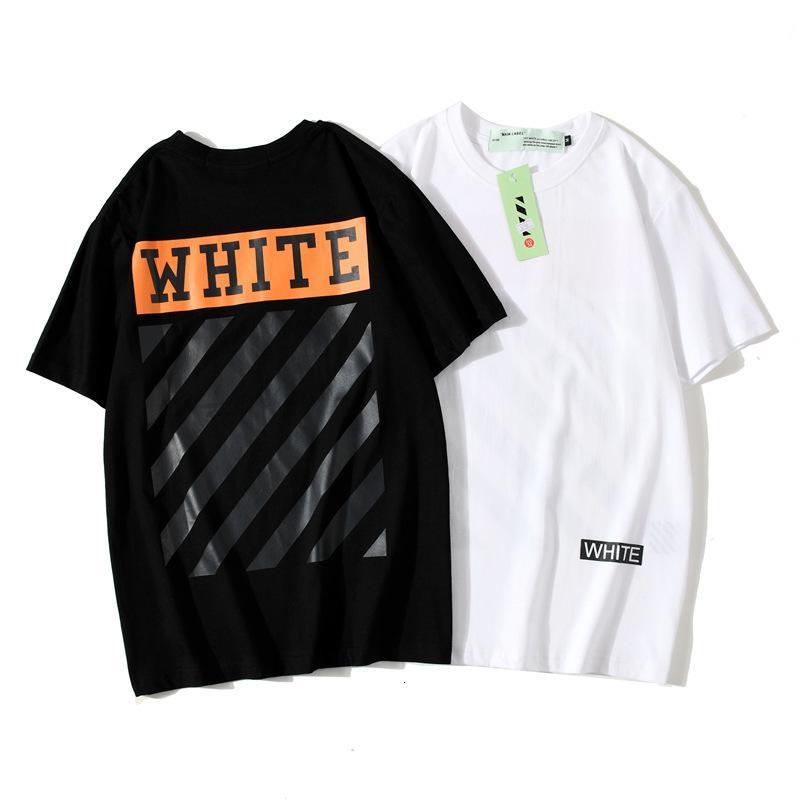 Na moda camiseta Primavera verão fora da listra branca lazer urbana solta e manga curta das mulheres