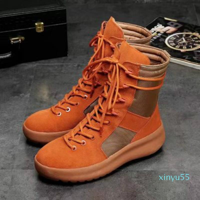 Sıcak Kanye Marka Yüksek Çizmeler En İyi Kalite Tanrı'nın Korkusu Top Askeri Sneakers Yüksek Ordu Çizmeler Erkekler Ve Kadınlar Moda Ayakkabı Martin Çizmeler 38-45