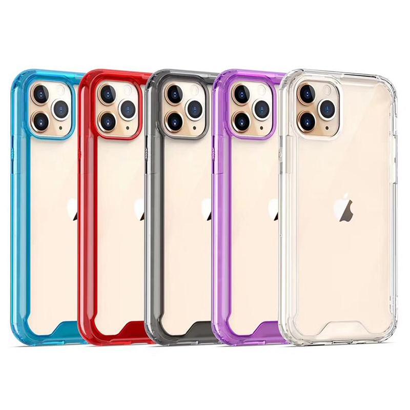 Rensa akryl TPU PC Shockside Phone Fodral för iPhone 13 12 Mini 11 Pro Max XR XS 6 7 8 Plus Samsung Not20 S20 S21 Ultra A12 A22 A32 A52 A72 S21FE