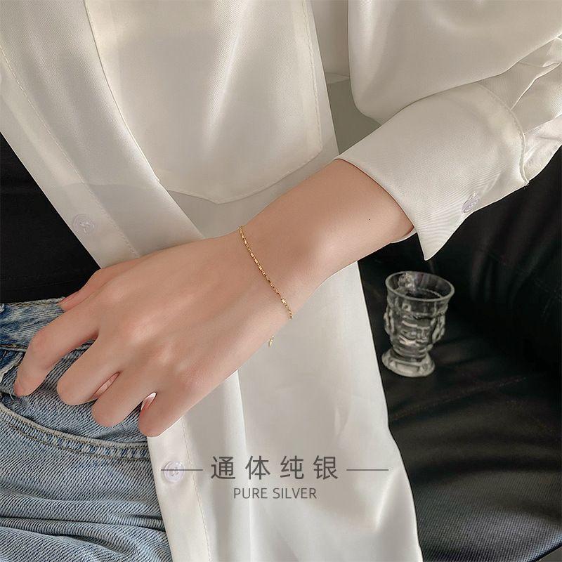 Los anillos de compromiso de los pendientes del diseñador, las pulseras y los collares de oro son favoritos de las mujeres pulseras de encanto Banyan bajo el S925 plata japonesa coreana pequeña SQUAR