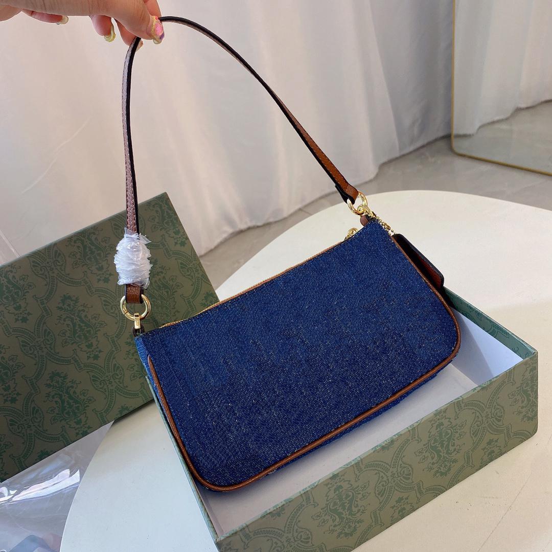 21fw مصمم حقائب الكتف الصليب الجسم الأزياء الدنيم قماش حقيبة يد الحرف الكلاسيكية طباعة حقيبة قطري جودة عالية المرأة محفظة armpitbag مع مربع