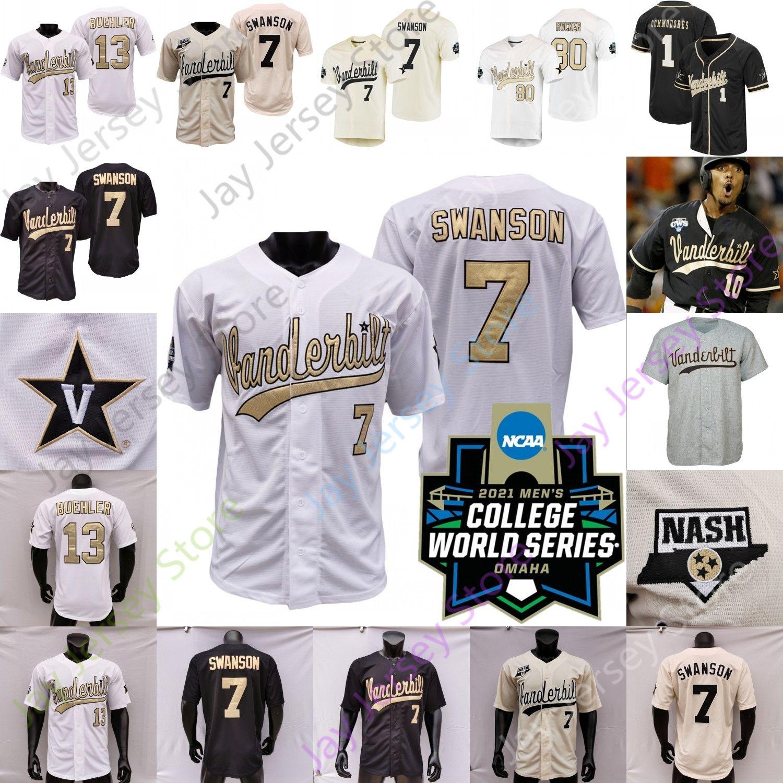 2021 NCAA Koleji Beyzbol WS Vanderbilt Commodores Jersey Jack Leiter JJ Bleday Cooper Davis Austin Martin Dansby Swanson Tim Corbin Cj Rodriguez