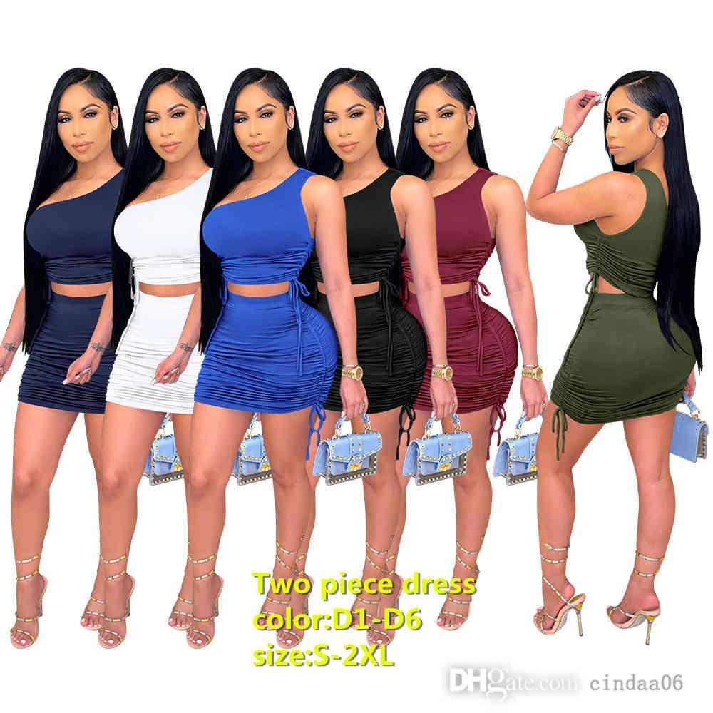 Kadınlar Casual Elbise Sling Düzensiz Moda Seksi İpli Kalça Ince Katı Renk Elbiseler Oymak Tasarımcılar Clubwear Etek