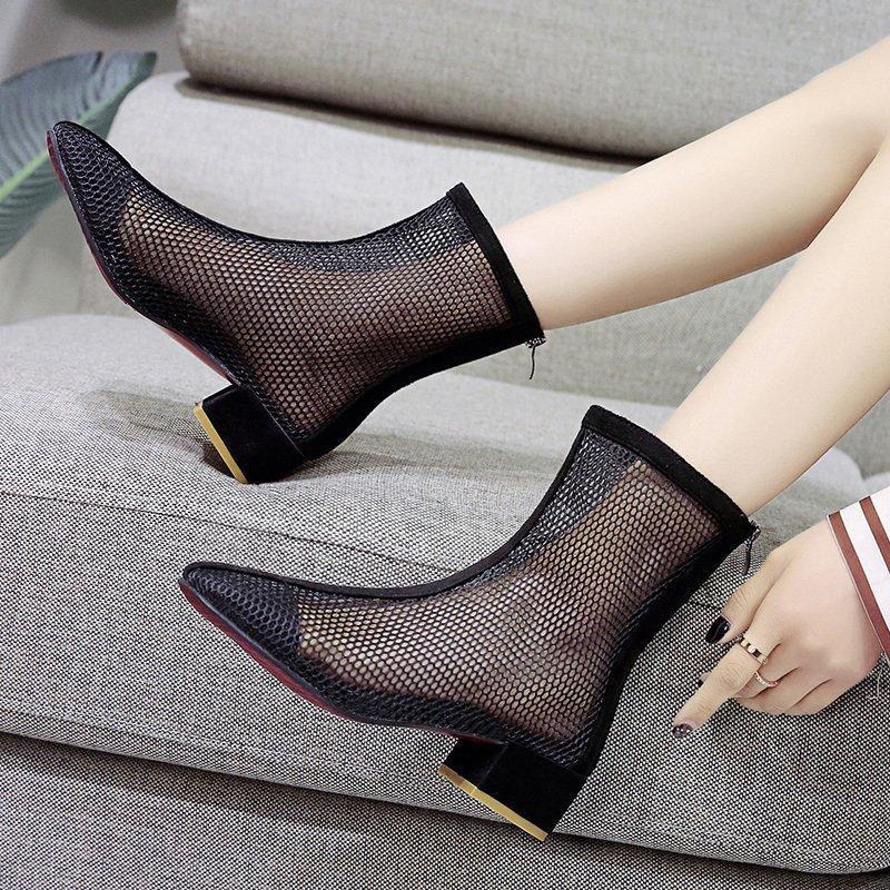 Gladyatör Sandalet 2021 Yaz Kadın Boot Sandal Mesh Bayanlar Ayakkabı Geri Zip Nefes Düşük Topuk Sandalias Botas Sivri Burun 9076N