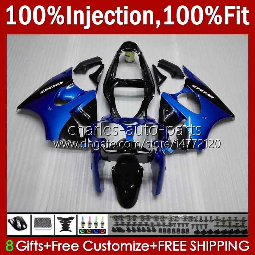 Injectie Mold Bodys voor Kawasaki Ninja 600cc ZZR600 05 06 07 08 Carrosserie 38HC.0 100% Fit ZZR-600 600 CC 05-08 ZZR 600 2005 2006 2007 2008 OEM FACEERS KIT Factory Blue Black Black