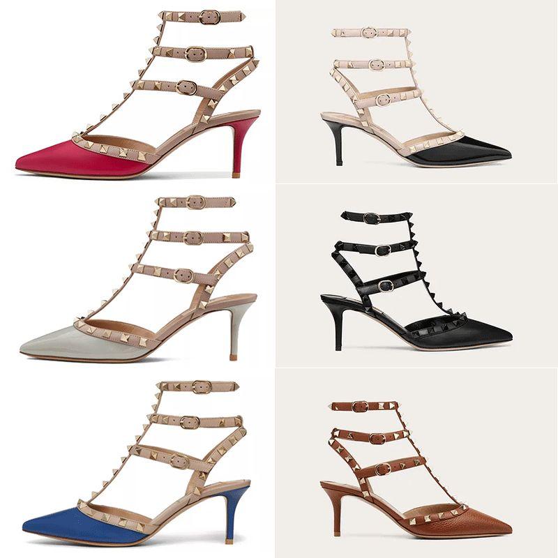 Yüksek Topuklu Sandalet Kadın Ayakkabı Hakiki Deri Slingback Bayanlar Seksi Moda Perçinler Ile Kutusu X7VS #