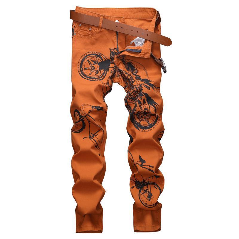 Jeans masculinos outono vintage graffiti impresso homens streetwear masculino punk hip hop em linha reta slim calças denim casuais