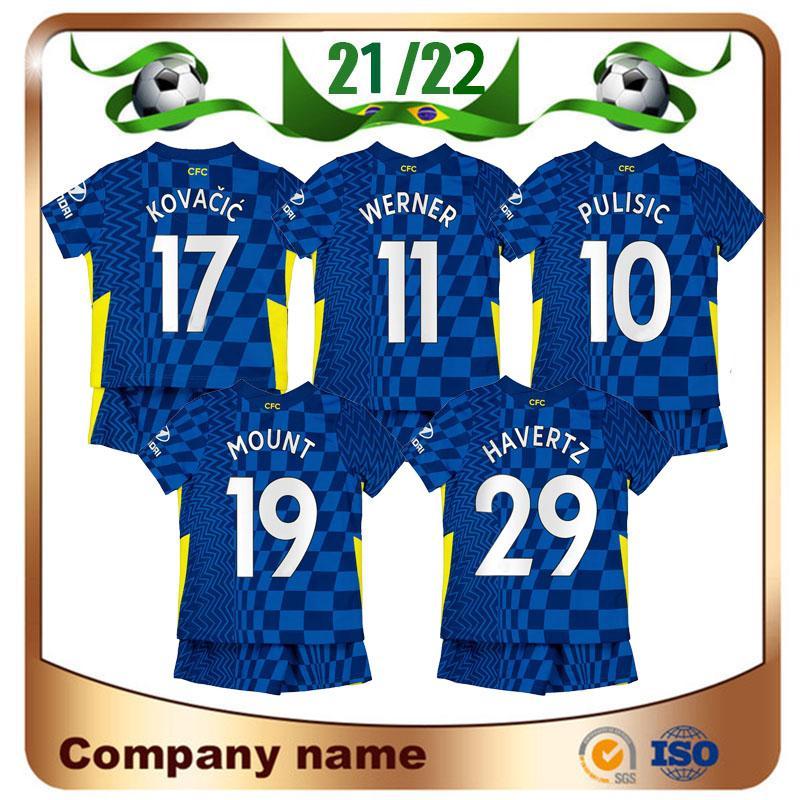21/22 Chelsea CFC KITDS KIT Pulisic Willian Soccer Jersey 2021 Criança Ziyech Kante Abraham Havertz Chilwell Camiseta Jorginho Menino Giroud Futebol Uniforme