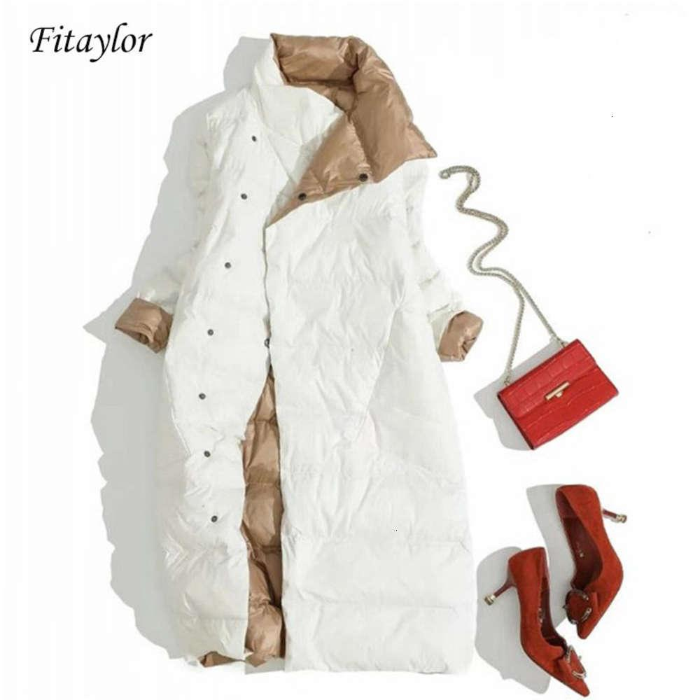 FitAylor Plus Tize Women Sided Chaqueta larga Pato blanco Abrigo Down Winter Double Breasted Cálido Parkas Outwear Outwear