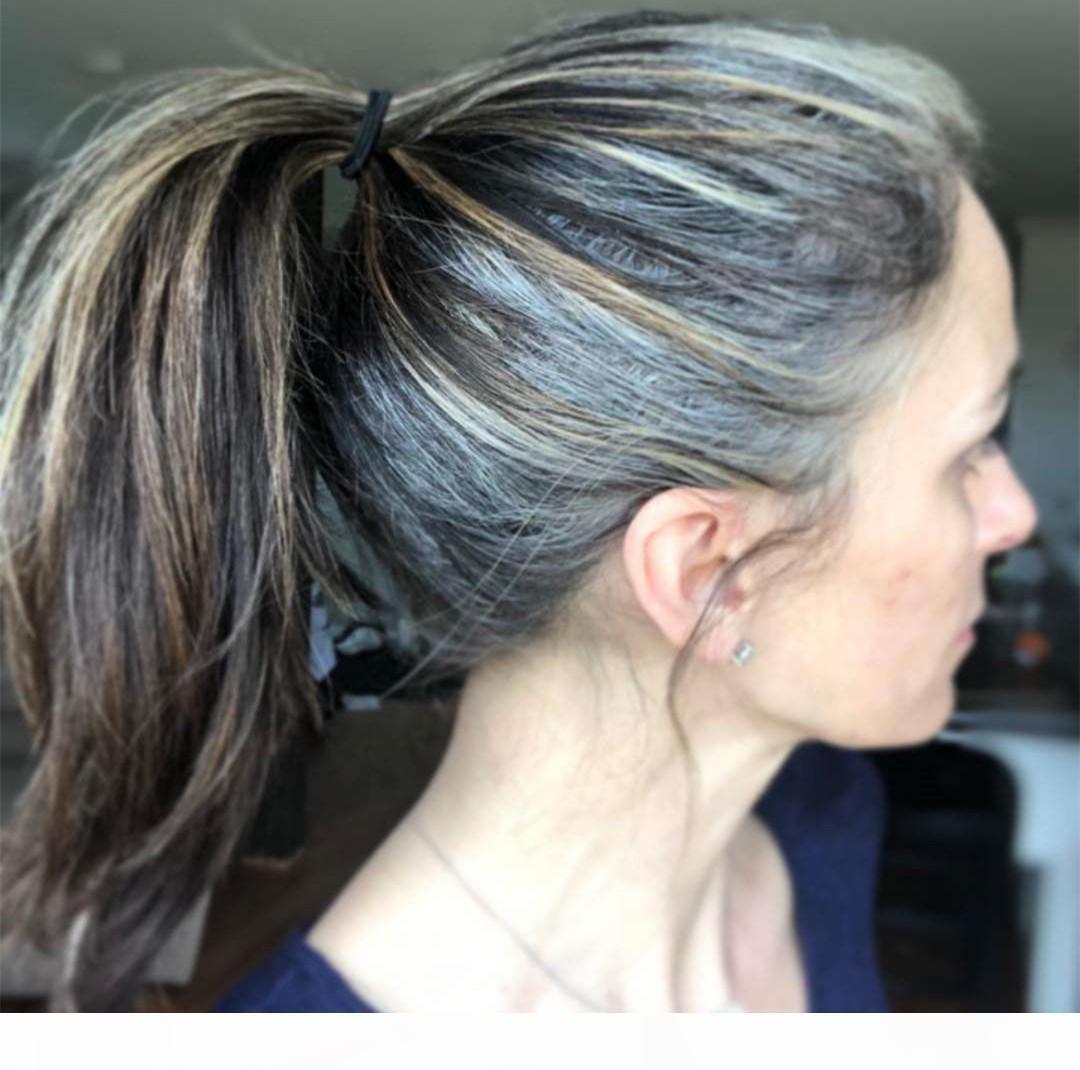 Ruhm Frauengrau Pony-Schwanz-Haarteil umwickelt um Salz und Pfeffer markierte Klavierfarbe graue Haar-Pferdeschwanz gerade 100g 120g 140g