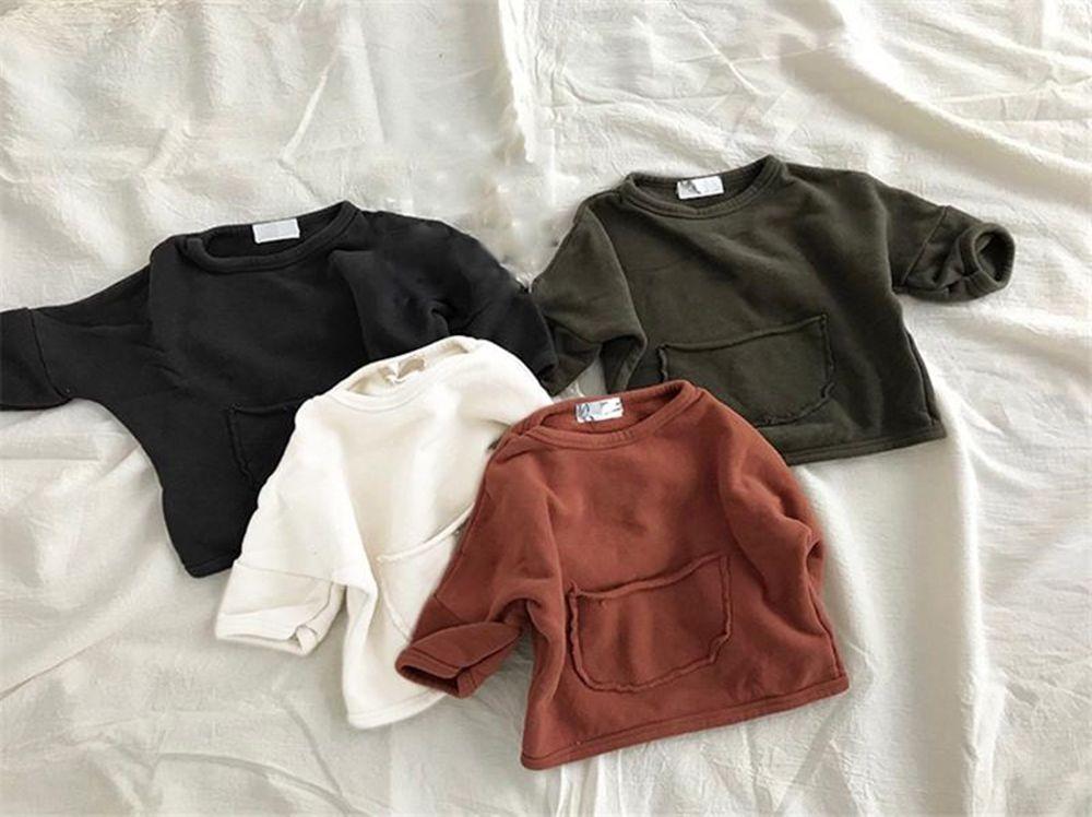 JK الكورية نمط أحدث ins ليتل بنين بنات سوياتشيرتس مصمم جيوب ربيع الخريف الموضات الأطفال البونصة الملابس sweatershirts