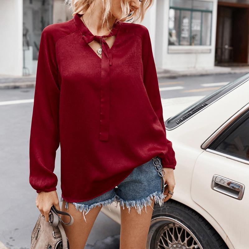 Jaycosin Blusa Donne Fashion Solid manica lunga con scollo a V Bandaggio Casual Top Shirts Blusa Donne 2020 Camicette estive 20jun15