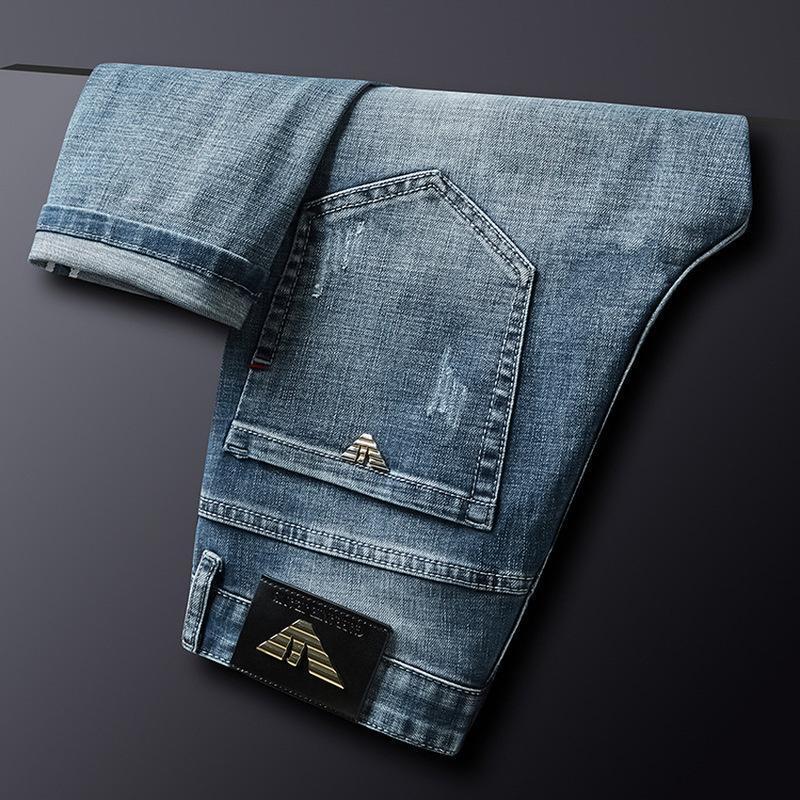 Осень зимние хлопок мужские джинсы тонкие эластичные Италия орел мода бизнес брюки классический стиль джинсовые штаны мужской