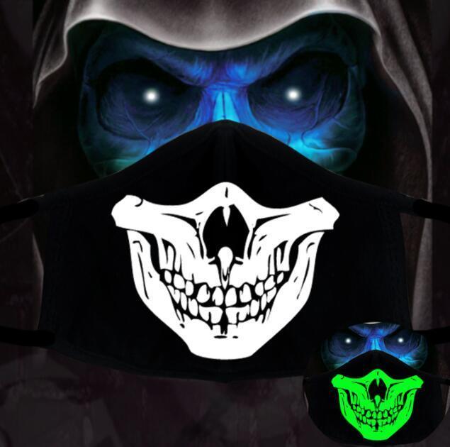 Siyah 1 adet Pamuk Toz Geçirmez PM2.5 Anime Karikatür Kadın Erkek Gece Glow Karanlık Kafatası Ağız Maskeleri Yarım Sokak Yüz Maskesi12