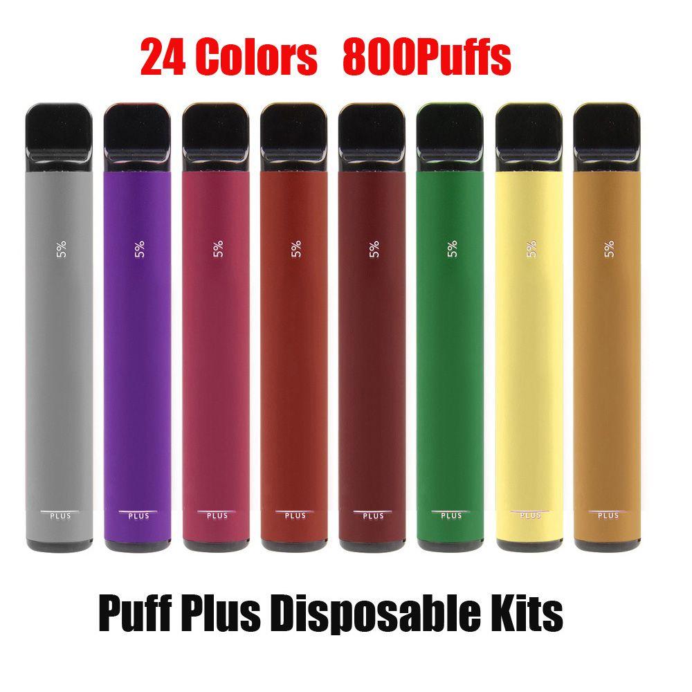 Puff bar Plus E-sigaretta E-sigaretta Dispositivo di manipolazione Dispositivo Kit 800 Blows 550mAh Batteria 3.2ml Cartridge Preriellato Stick Penna Vape VS Flex Bang XXL