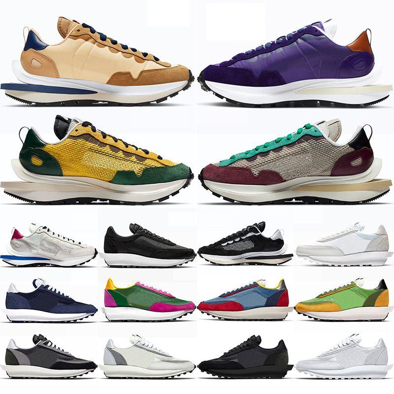 Yüksek kaliteli Waffle Koşu Ayakkabıları Erkek Kadın Siyah Beyaz Yelken Sesame Karanlık Iris Kraliyet Fuşya Villain Kırmızı Erkek Bayan Eğitmenler Spor Sneakers
