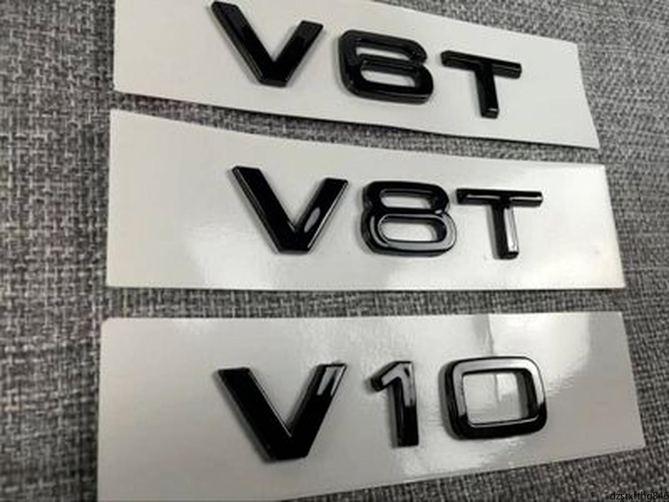 Car Styling ABS Glossy Black V6T V8T Vcc Side Body Emblem Tail Trunk Fender Badge Sticker For Audi A4 A3 A5 A6 A1 Q3 Q5 Q