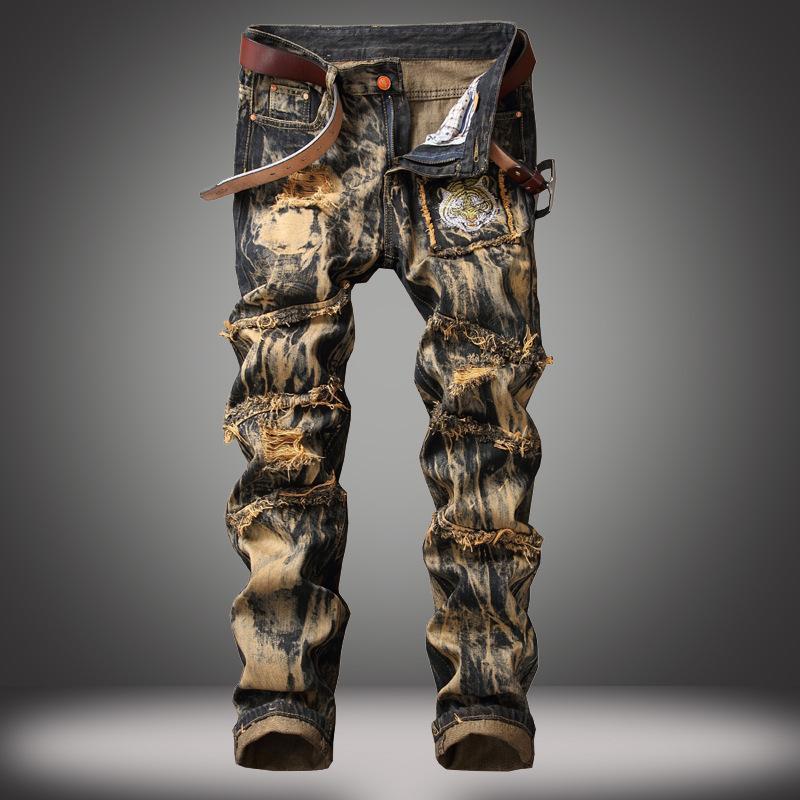 Denim Tasarımcı Delik Jeans Yüksek Kalite Erkekler için Yırtık Boyutu 28-38 40 42 2021 Sonbahar Bahar Hip Hop Punk Streetwear Erkekler