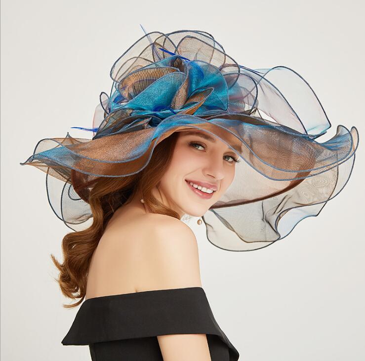 Moda Bayanlar İngiliz Avrupa Tarzı Renkli Organze Şapka Zarif Kişilik İlkbahar Yaz Dış Güneş Kapaklar