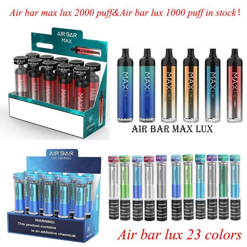 Air Bar Max Lux Одноразовый Vape E CiGarette Pen Pod Устройство Встроенные 1250 мАч Батарея Pods 2000 Puffs DAB Стартовый комплект VS Puff Plus XXL