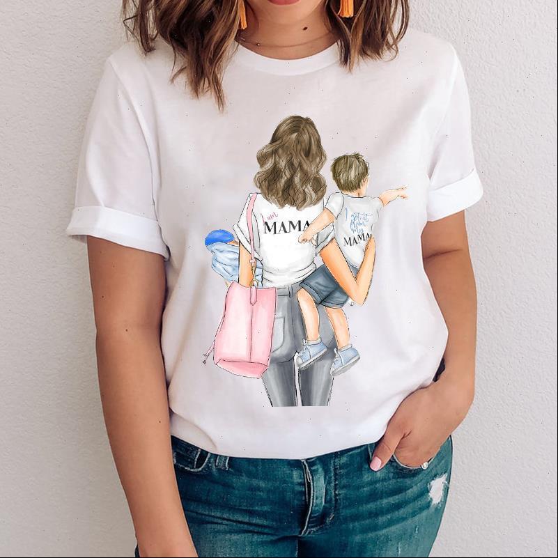 Frauen Womens Tops Grafikjunge Niedliche Druckart Cartoon Mom Mama Mutter Kleidung Dame Kleidung Tees Drucken Weibliche T-Shirt T