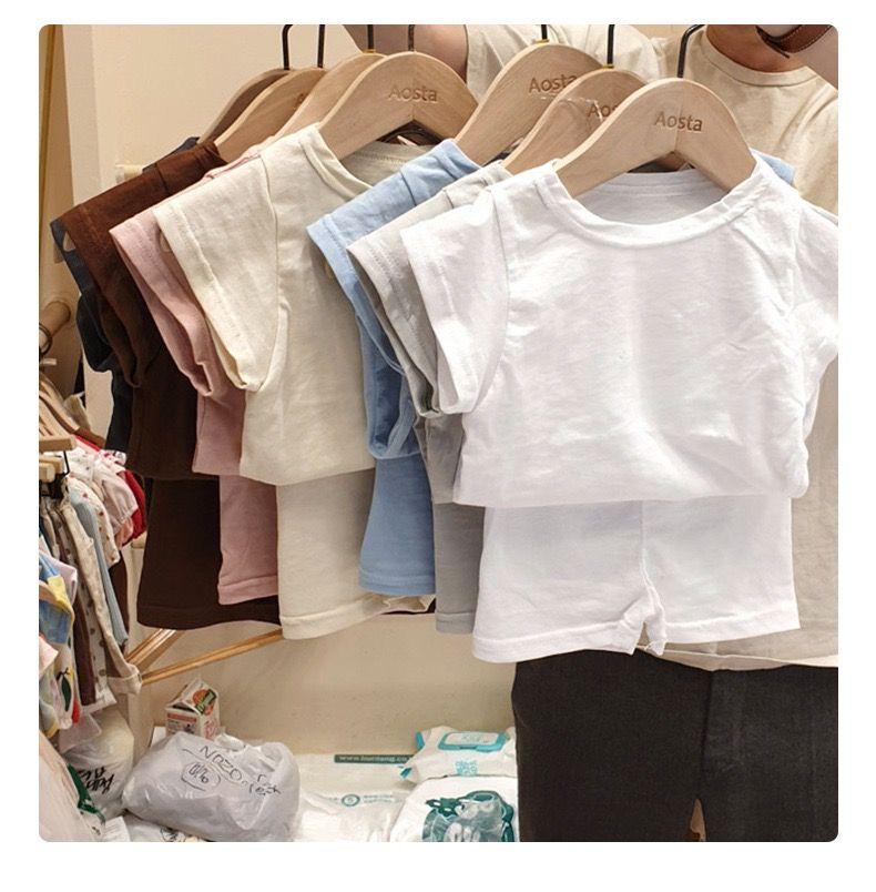 Aks ins normes coréen Australie Enfants Vêtements Ensembles Été Pure Coton Sleeve Sleeve Tees avec shorts 2pieces Enfant Enfant Enfants Tenues