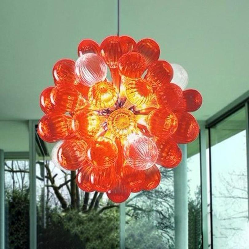 أضواء مخصصة قلادة مصابيح برتقالي اللون ناحية في مهب فقاعة الزجاج الثريات 12-16 بوصة نوم الفن ديكو أدى قلادة ضوء الثريا الإضاءة الصغيرة