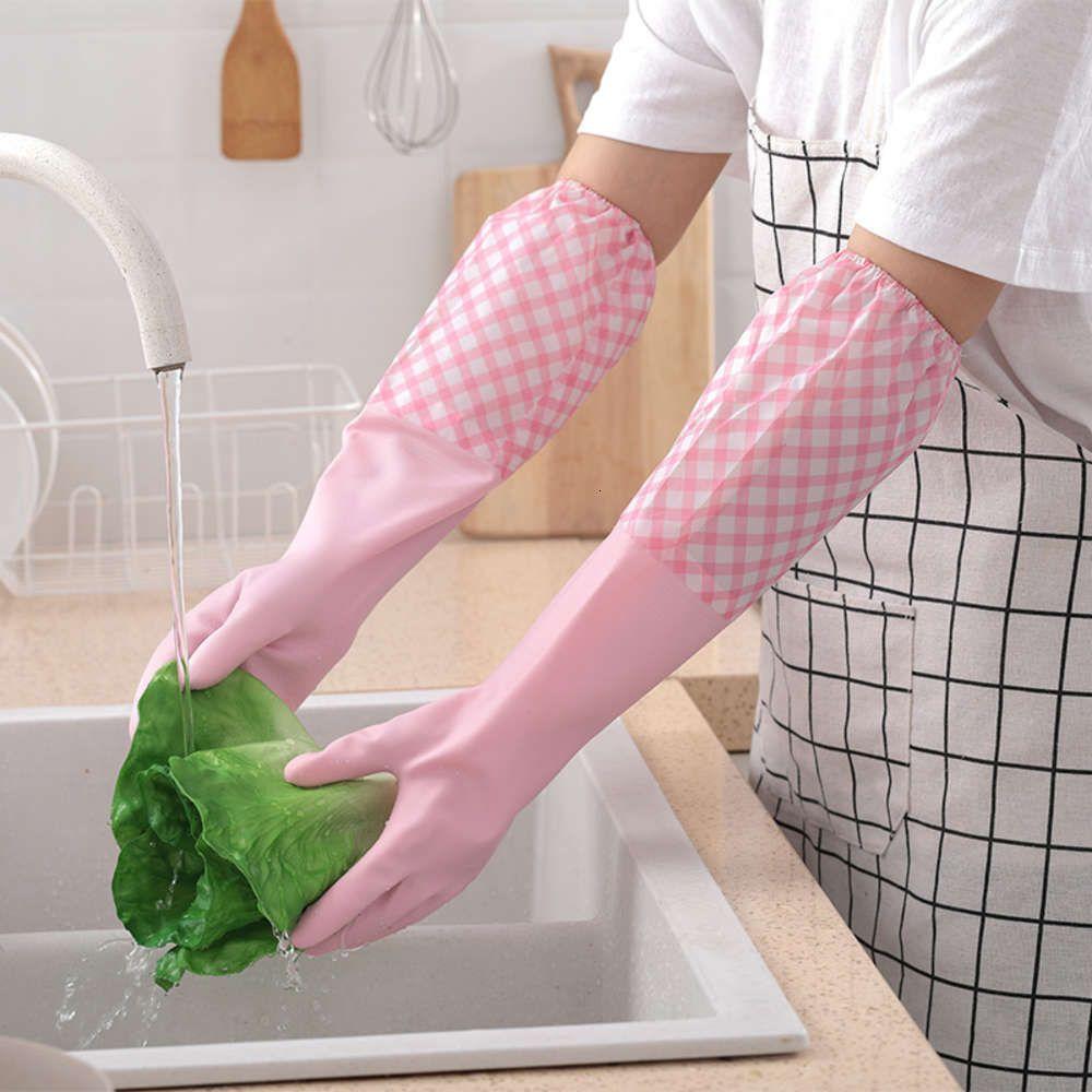 Luvas lavar louça látex limpeza à prova d 'água flor manga aleatória tufada luvas de borracha de lavanderia quente