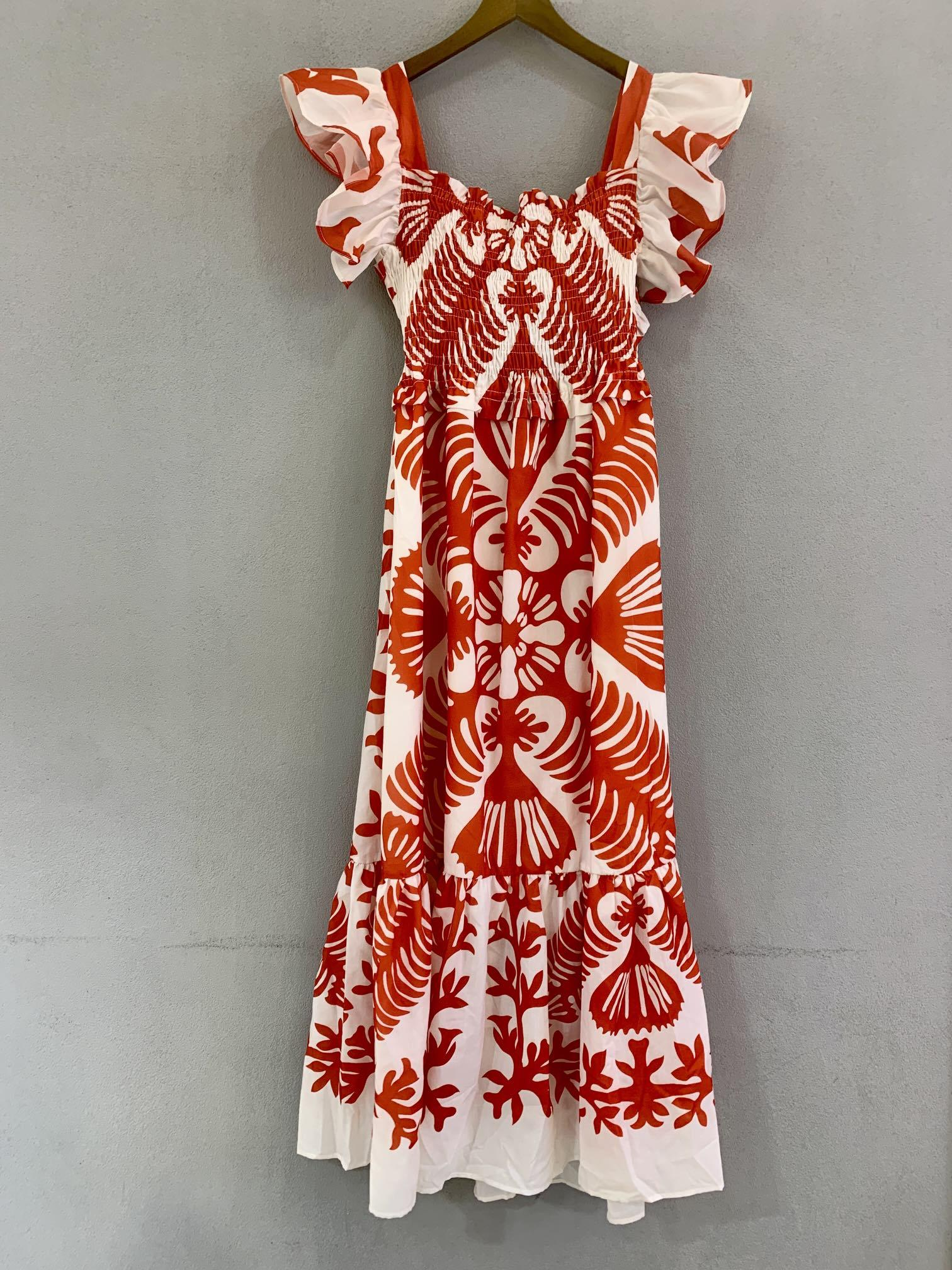 2021 Moda de verano Impresión Mosca de mosca Cuello Cuadrado Vestido de columpio