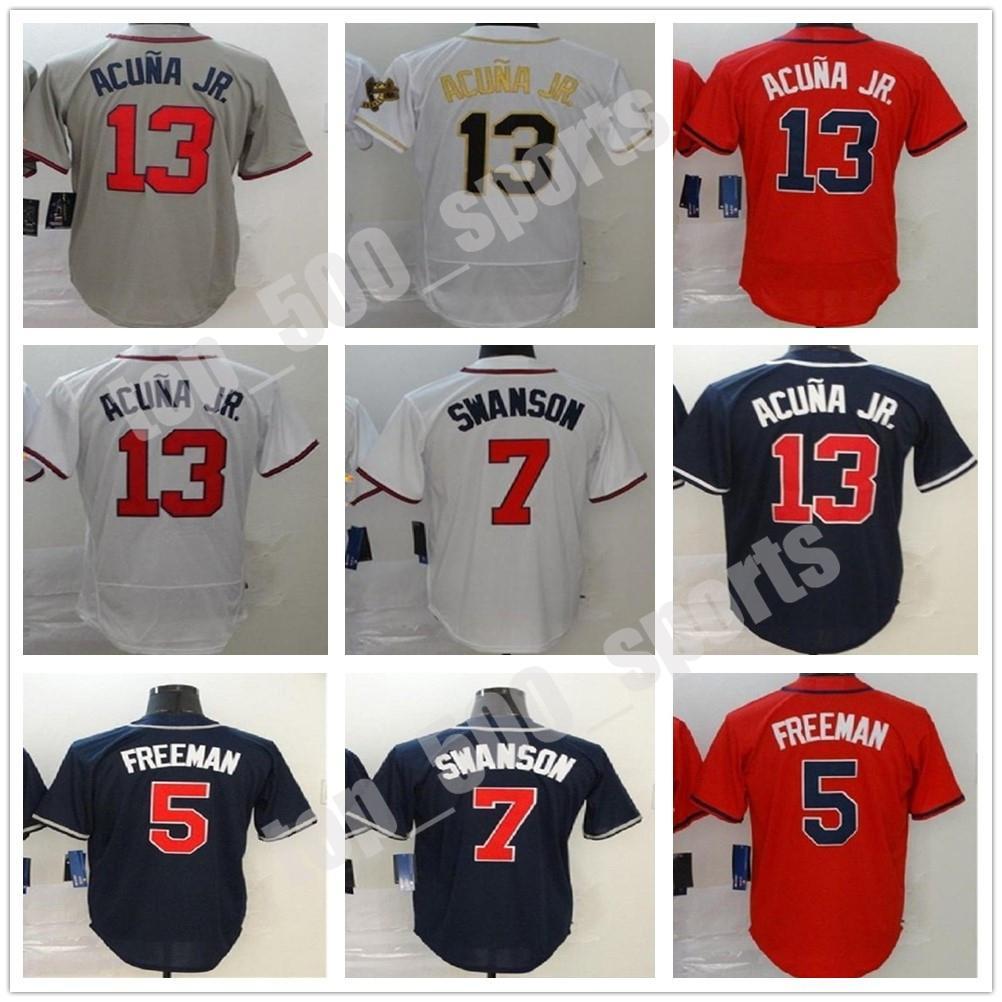 Personalizado Atlanta 2021 Homens Mulheres Juventude 13 Ronald Acuna Jr Baseball Jerseys 7 Freddie Freeman Dansby Swanson Deion Sanders Jersey em estoque