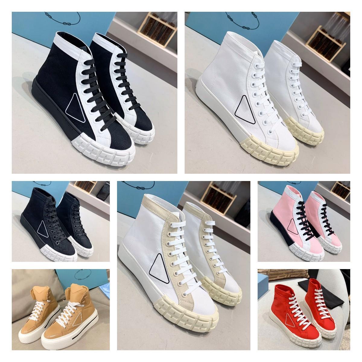2021 Top Designer Damas Zapatillas Nylon Zapatillas de deporte Tela Triple Triple Blanco Blanco Color Sólido Alto Top Laces Casual Beach Lienzo Zapatos Tamaño 35-40