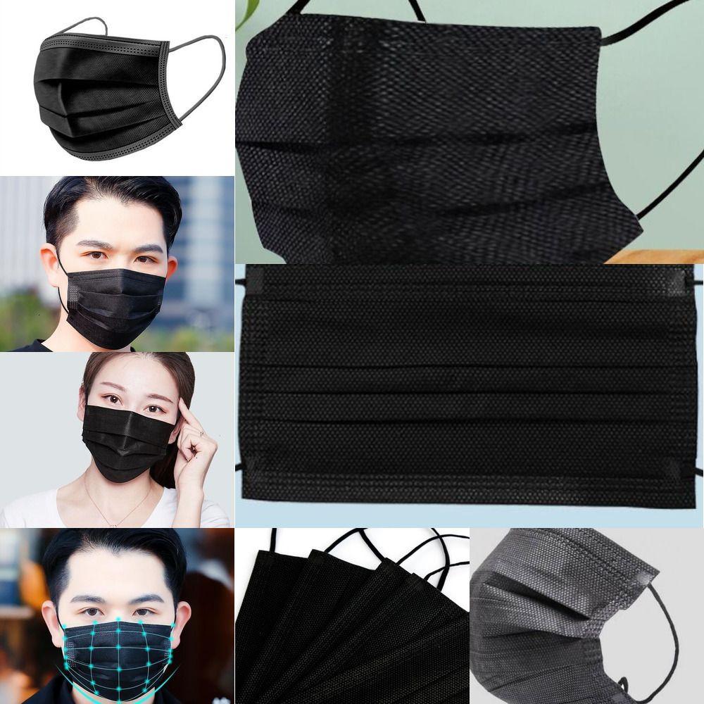 Hood adulte pcs couleur noire couleur poussière 10 3 couches masque 1NWU5