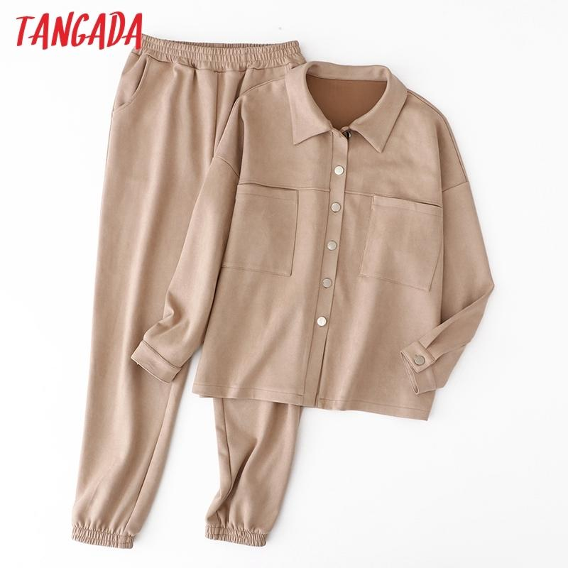 Tangada женские набор сплошной замшевой куртки для куртки штаны 2021 осень зимний костюм пальто и брюки 6l36we5c