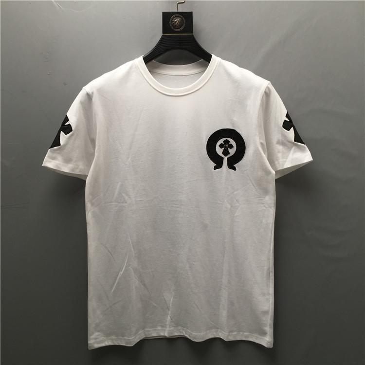 2021 Summer Tide Brand New Stereo PU in pelle ricamo in metallo croce manica corta T-shirt Heavy Industry Uomo